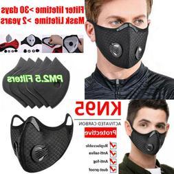 Sport Face Maske Reusable W/Valve & 3/4/5 Layer Activated Ca