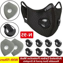 Sport Face Masks With Breathing Valves 3/4/5 Carbon Anti Pol
