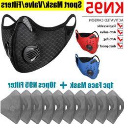 Reusable Sports Face Mask W/ Double Valve Activated Carbon P