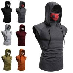 Summer Men's Sports Skull Mask Hooded T-Shirts Short Sleeve