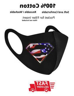 Superman - BLK Face Mask with filter pocket Reusable Unisex