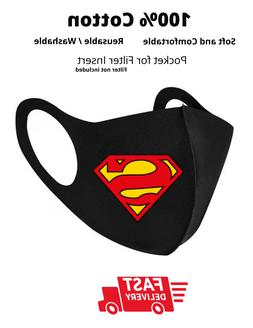 Superman - BLK Face Mask with filter pocket Reusable Unisex