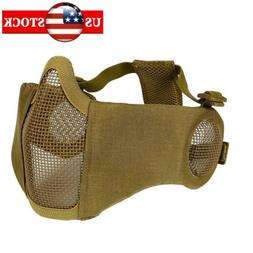 Tan Airsoft Half Face Mask Metal Netting Ear-Protect For Tac
