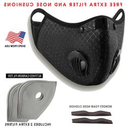 USA Activated Carbon Face Mask Shield Air Purifying Reusable