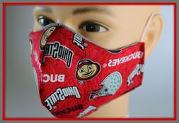 Handmade USA Adult Face Mask OSU Ohio State Buckeyes W/Free