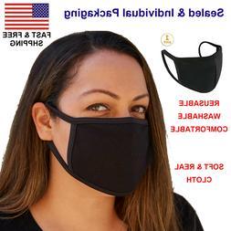 Washable Face Mask Black Reusable Breathable Unisex Double L
