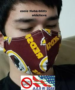 Washington Redskins face mask -adjustable tightness, filter