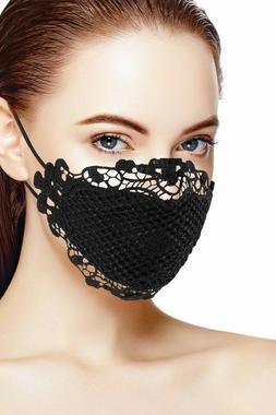 Women 3D Lace Face Mask Reusable Washable Cover Black White