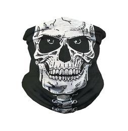 Skull Balaclava White Face Mask Gaiter Neck Biker Bandana Wi